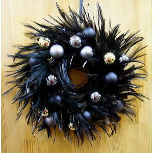 クリスマスリース飾り:ブラックファーリース yummy