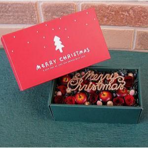 プリザーブドフラワー 開けてビックリ!ボックスフラワーアレンジメント:クリスマスボックス|yummy