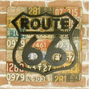 (即日発送)ナンバープレート柄がかっこいい!アンティーク ROUTE66 プレート|yumugiya