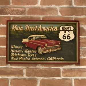 (即日発送) 多くの人に愛された道R66 アンティークボード Main Street America|yumugiya