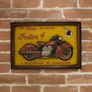 (即日発送)バイクのデザインがカッコ良いアンティークボード INDIAN4|yumugiya
