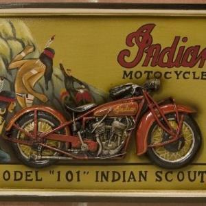 (即日発送)バイク好きの人にオススメ! アンティークボード  INDIANMODL101|yumugiya
