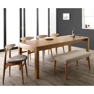 最大210cm 3段階伸縮 ワイドサイズデザイン ダイニング BELONG ビロング 6点セット(テーブル+チェア4脚+ベンチ1脚) W150−210|yumugiya