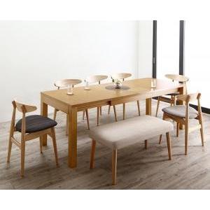 最大210cm 3段階伸縮 ワイドサイズデザイン ダイニング BELONG ビロング 8点セット(テーブル+チェア6脚+ベンチ1脚) W150−210|yumugiya