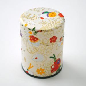 茶筒 茶缶 中蓋付き 2020年干支 子 ねずみ柄茶缶 内容量 約40g 缶