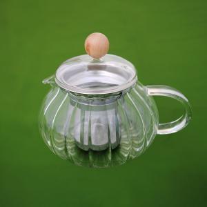 ガラス ポット 急須 耐熱 菊型 約400cc(ステンレス茶こし) 茶器|yunoha