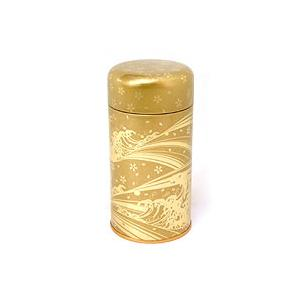 茶筒 茶缶 中蓋付き 波はるか金 内容量 約250g 缶|yunoha