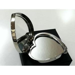 ハート型ミラー/コンパクト手鏡 両面タイプ シルバーサテン ミラー 日本製 レディース