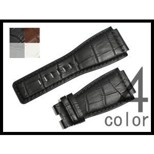 「 ベル&ロス Bell&Ross 向け」 輸入王オリジナル ベルト BR01,BR03用 型押しクロコ 24mm メンズ 腕時計用 社外品 yunyuuoh