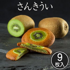 香川の老舗和菓子かねすえ さんきうい 9枚入り 和菓子 お取り寄せ スイーツ キウイフルーツ サブレ|yurakuya-udon