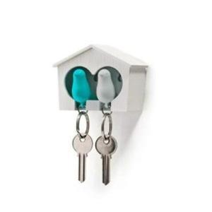 クオリー 鍵 カギ 置き 掛け キー ケース ホルダー リング フック 玄関 ホイッスル 笛 北欧 鳥 デュオ スパロウ ブルー 5217023BL|yurando1112
