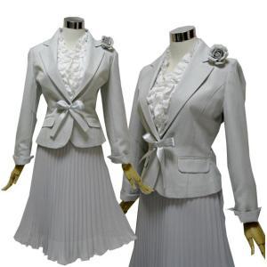 【あすつく】卒園 卒業 入園 入学 上品スーツ コサージュ、フリルブラウス付 お買い得4点セット 7号 9号 11号 13号 ライトグレー 学校行事 結婚式 yuria