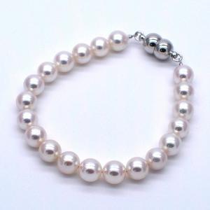 アコヤ真珠ブレスレット 6.5~7.0mm あこやパール マグネットタイプ 冠婚葬祭 パーティー 送料無料|yusa-jewelry