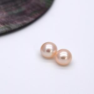 片穴 淡水パール 6mm ペア 2粒 ボタン フラット ピンクオレンジ系 本真珠 ルース パーツ ビーズ ポイント消化|yusa-jewelry