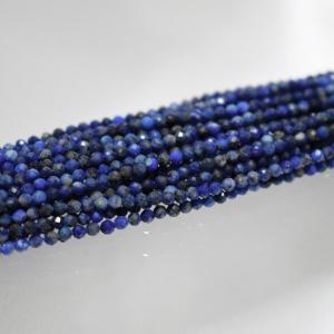 ラピスラズリ 極小 30粒 2mm 小粒 多面体ラウンドカット 天然石ビーズ 素材 パーツ|yusa-jewelry