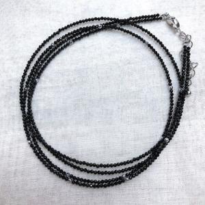 ブラックスピネッル 2連ネックレス 57cm アジャスター付き 金属アレルギー非対応 送料無料 ポイント消化|yusa-jewelry