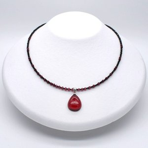 レッドアンバーネックレス 琥珀 ルビー ブラックスピネル SV シルバー 金属アレルギー非対応 送料無料 ポイント消化|yusa-jewelry