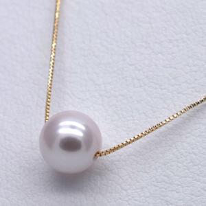 K10 アコヤ真珠ネックレス スルーペンダント ベネチアンチェーン 一粒 40cm|yusa-jewelry