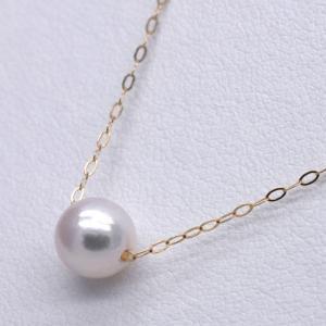 K18 アコヤ真珠ネックレス スルーペンダント あずきチェーン 一粒 40cm|yusa-jewelry