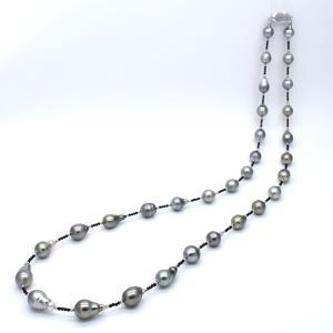 黒蝶真珠ロングネックレス 76cm SV925 タヒチパール シルバー ブラックスピネル ヘマタイト|yusa-jewelry