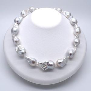 極大 淡水パールネックレス バロック ドロップ 雫 桐箱保管ケース付き 45cm SV925 シルバー|yusa-jewelry