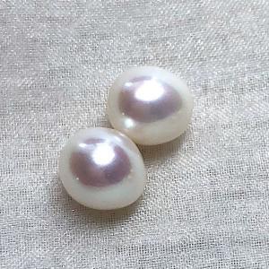 淡水パール ペア セミラウンド パーツ 素材 ビーズ 真珠 ホワイト 8mm|yusa-jewelry