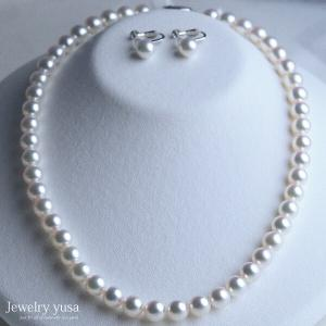 アコヤ真珠ネックレス あこや 本真珠 パール イヤリングセット ピアス アクセサリー 冠婚葬祭 パーティー ギフト プレゼント 成人式 卒業式 送料無料|yusa-jewelry