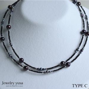 ブラックスピネル ロングネックレス デザインネックレス C  淡水パール ヘマタイトシルバー 銀 ギフト プレゼント 記念日 条件付き送料無料|yusa-jewelry