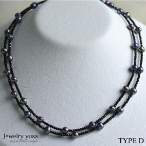 ブラックスピネル ロングネックレス デザインネックレス D  淡水パール シルバー 銀 ギフト プレゼント 記念日 条件付き送料無料|yusa-jewelry