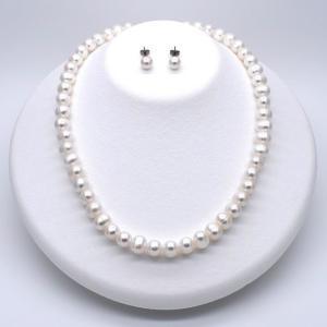 淡水真珠ネックレス パール ピアスセット SV925 冠婚葬祭 結婚式 入学式 卒業式  金属アレルギー対応 送料無料|yusa-jewelry