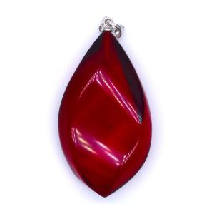 超大粒 レッドアンバー 琥珀 ペンダントトップ 4cm SV シルバー 真紅 深紅|yusa-jewelry