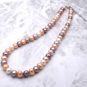 淡水パールネックレス 本真珠 ナチュラル マルチカラー アジャスター付 送料無料|yusa-jewelry