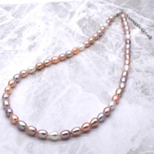 淡水パールネックレス 本真珠 ナチュラル マルチカラー ライス アジャスター付 送料無料|yusa-jewelry