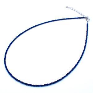 極小ラピスラズリネックレス SV925 40~45cm 青 ブルー アジャスター付き 9月 12月 誕生石|yusa-jewelry