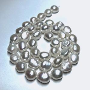 淡水パール 連 バロック ボタン 中粒 40cm パーツ 素材 真珠 ホワイト系|yusa-jewelry