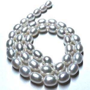 淡水パール 連 ライス 中粒 40cm パーツ 素材 真珠 ホワイト系|yusa-jewelry