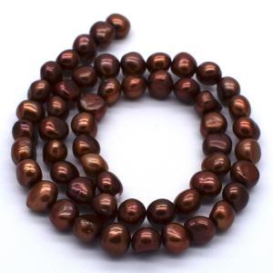 淡水パール 連 40cm  真珠 バロック ボタン ブラウン系 真珠 ハンドメイド素材 材料 パーツ ビーズ|yusa-jewelry
