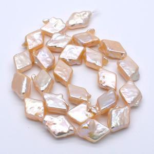 連40cm ダイヤ型 バロック淡水パール ひし形 パーツ ホワイトオレンジ系 17mm|yusa-jewelry