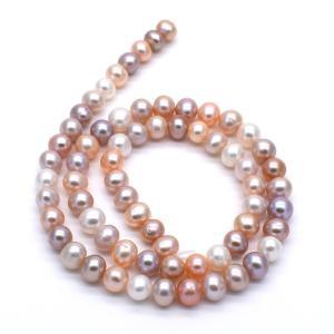 淡水パール 連40cm 小粒 ポテト マルチカラー系 6.5~7.5mm ハンドメイド素材 パーツ|yusa-jewelry