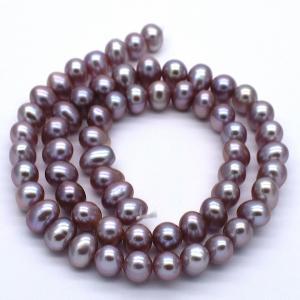 連40cm 淡水パール ポテト パープル系 ナチュラルカラー 6.5mm 素材 パーツ 材料 本真珠 yusa-jewelry