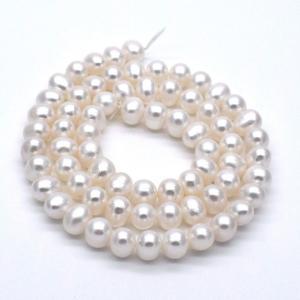 淡水パール 連40cm ポテト 5~6mm 本真珠 素材 パーツ ビーズ ハンドメイド|yusa-jewelry