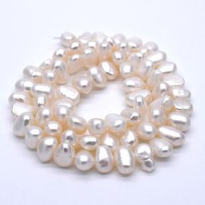 不揃い淡水パール 連40cm バロックライス 5~9mm 本真珠 素材 パーツ ビーズ ハンドメイド|yusa-jewelry