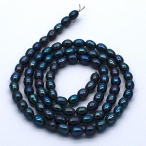 淡水パール 連40cm ライス 3~4mm 本真珠 オメガブルー系 素材 パーツ ビーズ ハンドメイド|yusa-jewelry
