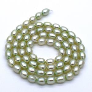 淡水パール 連 40cm  真珠 ライス パステルグリーン系 真珠 ハンドメイド素材 材料 パーツ ビーズ yusa-jewelry