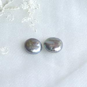 淡水パール バロック コイン型 大粒 ペア 2粒 15mm yusa-jewelry