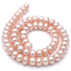 大粒 縦穴ボタン 淡水パール 本真珠 1粒 8~9mm オレンジ系 素材 パーツ ルース ハンドメイド|yusa-jewelry