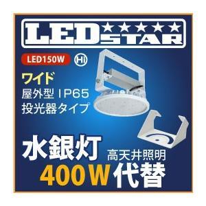 工場・倉庫 高天井照明 LED投光器 水銀灯400W以上の明るさ! 投光器タイプ 110度 昼白色 L150V2-P-HW-50K-L-BR-DFL|yusac