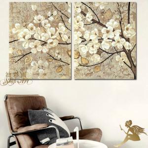 絵画 壁掛け 風景 花 モダン アートパネル インテリア 和 日本画 手書きの油彩画 2枚セット 枝の白い花|yusaigashop-art