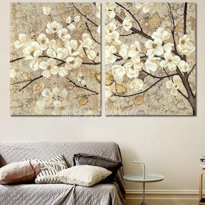 絵画 壁掛け 風景 花 モダン アートパネル インテリア 和 日本画 手書きの油彩画 2枚セット 枝の白い花|yusaigashop-art|02
