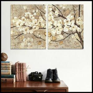 絵画 壁掛け 風景 花 モダン アートパネル インテリア 和 日本画 手書きの油彩画 2枚セット 枝の白い花|yusaigashop-art|03